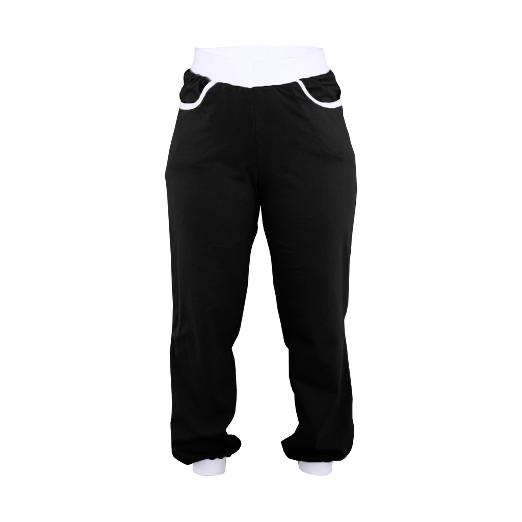 Black with White Trim High-Waisted Sweatpants