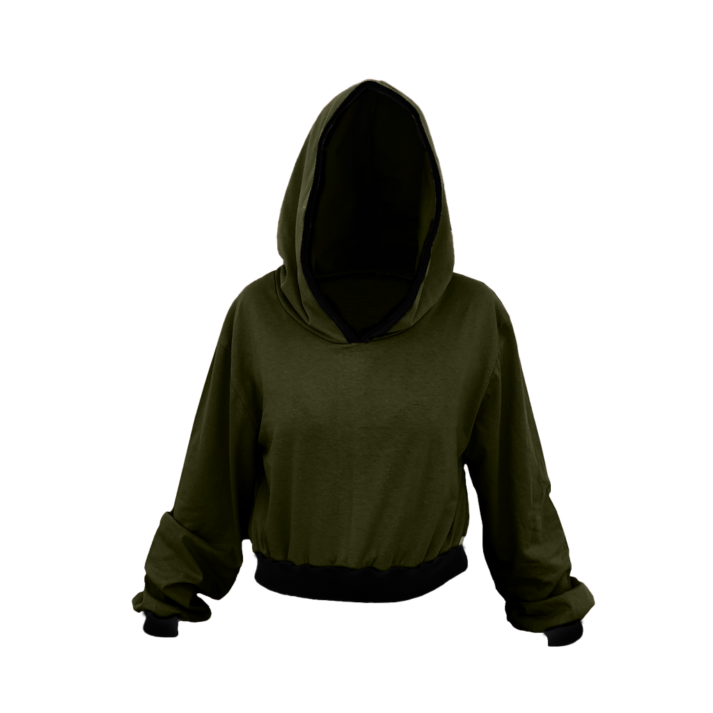 Olive Green Cropped Hoodie