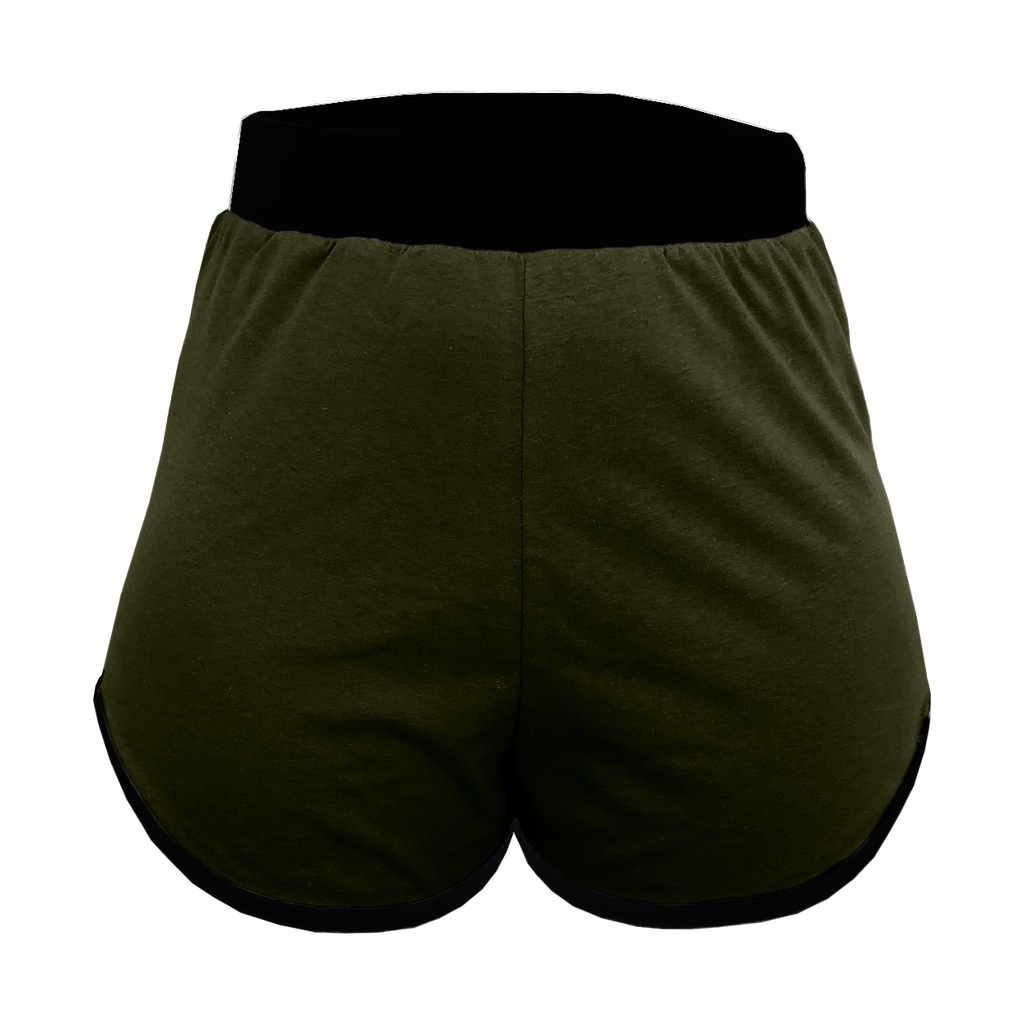 Olive Green High-Waisted Shorts