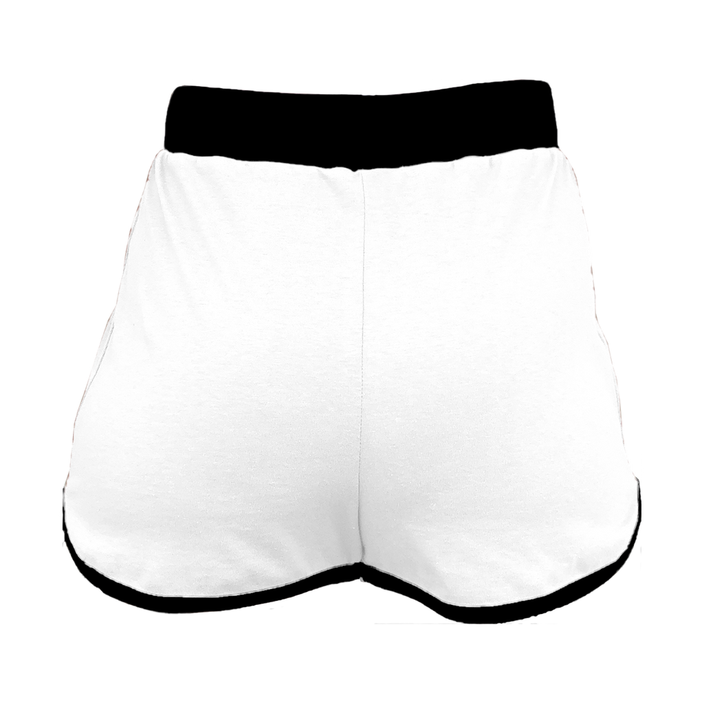 White with Black Trim High-Waisted Shorts