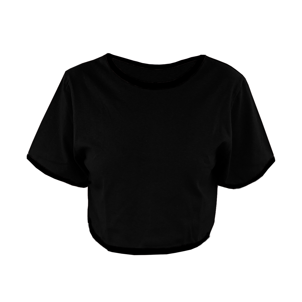 Black with Black Trim Cropped T-Shirt