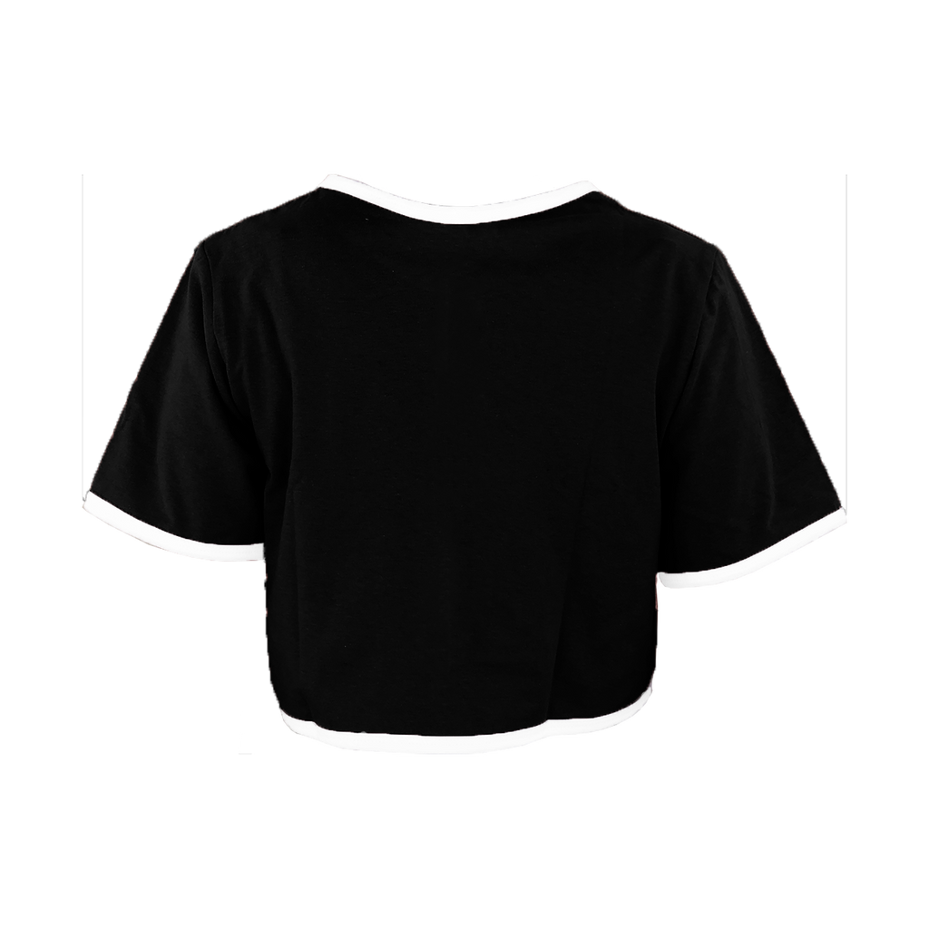 Black with White Trim Cropped T-Shirt