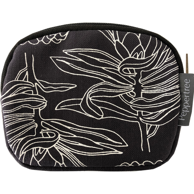 Peppertree Structured Purse - Small Line Protea Parchment on Charcoal