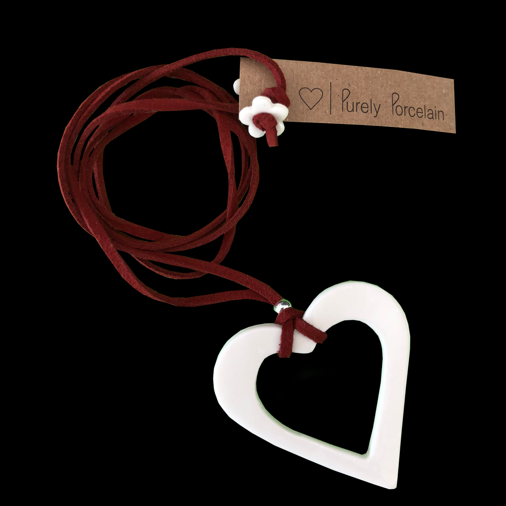 Purely Porcelain Necklace Long pp018 Cut out Heart