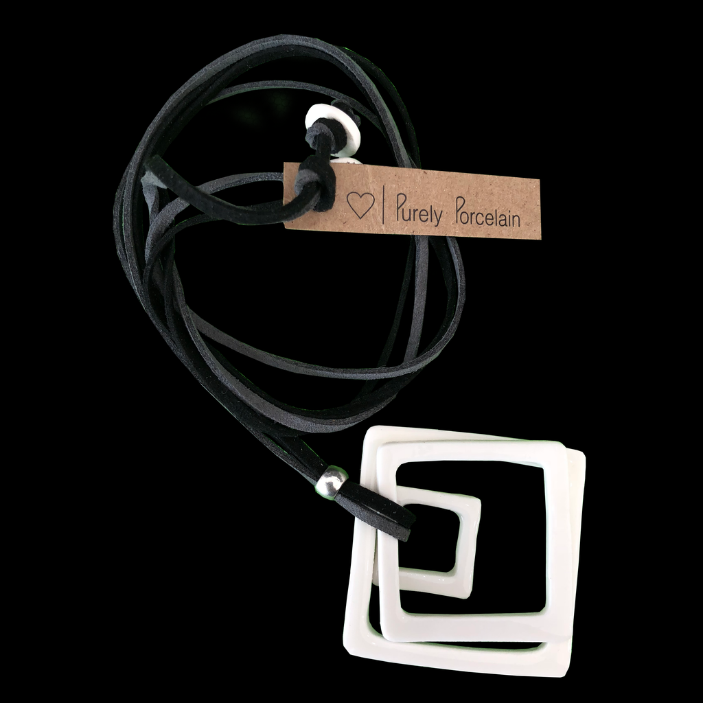 Purely Porcelain Necklace Long pp018 Cut out Square
