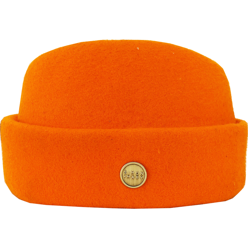 Simon & Mary Military Fez Hat Bright Orange