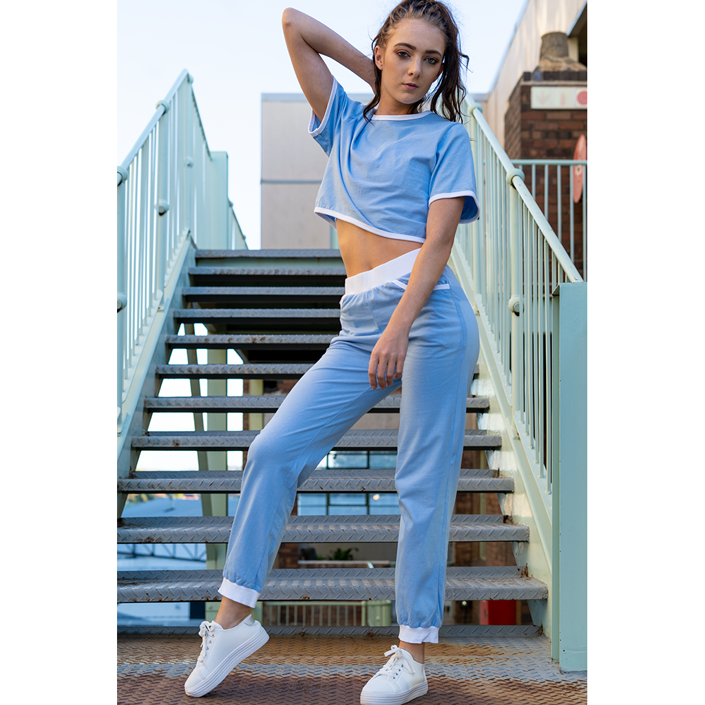 Cropped T-Shirt Light Blue