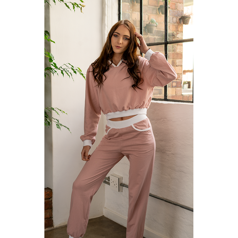 Cropped Hoodie Dusty Rose