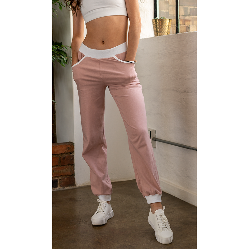 High-Waisted Sweatpants Dusty Rose
