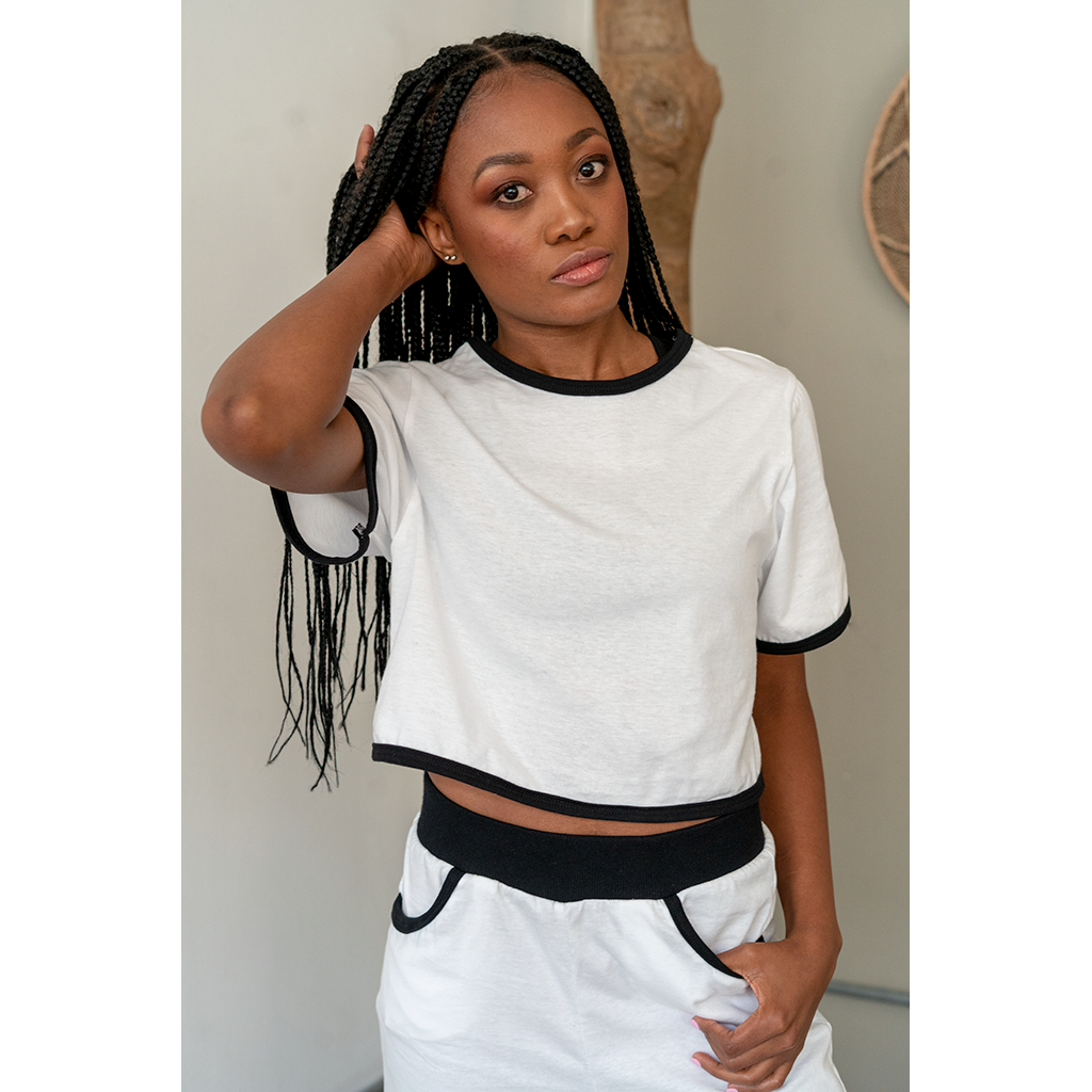 Cropped T-Shirt White with Black Trim