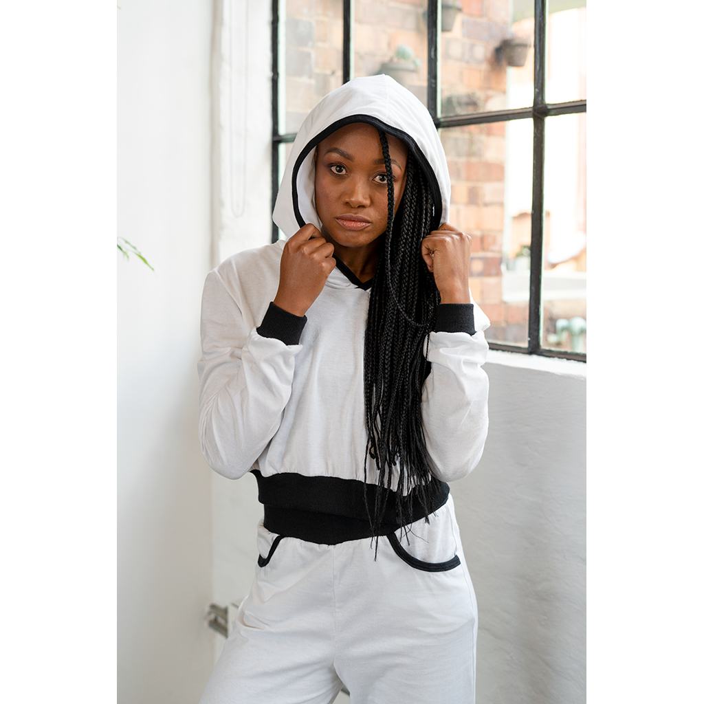 Cropped Hoodie White with Black Trim