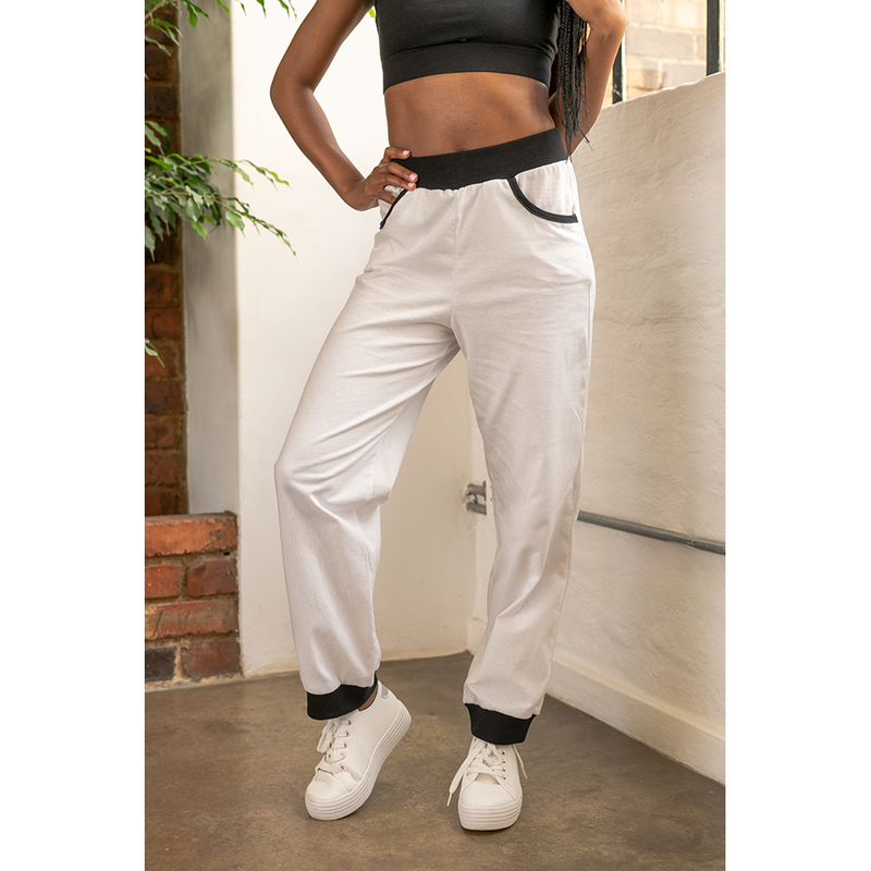 High-Waisted Sweatpants White with Black Trim