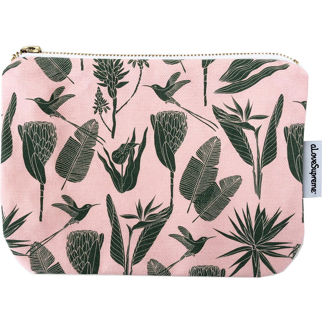 aLoveSupreme Pouch Metal Zip - Botanicals Green on Pink