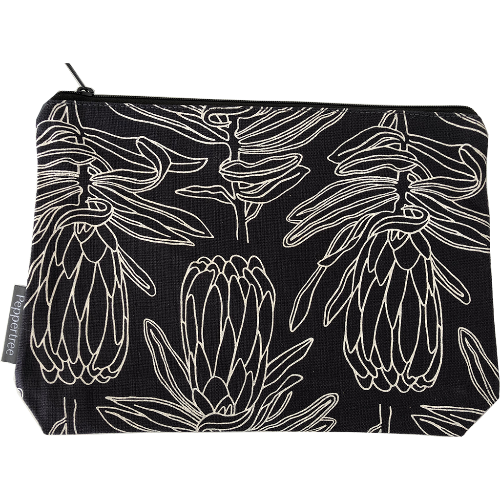 Peppertree Makeup Bag Large - Small Line Protea Parchment on Charcoal