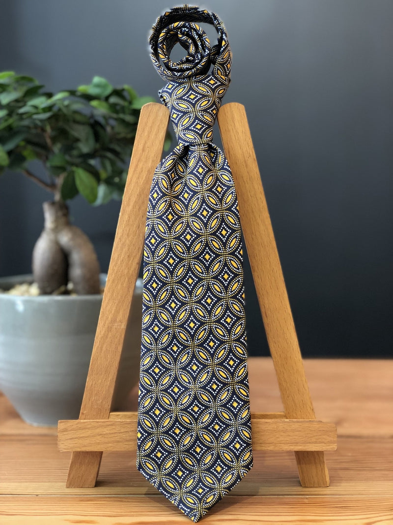 Owami African Print Tie and Pocket Square  - Brown and Yellow