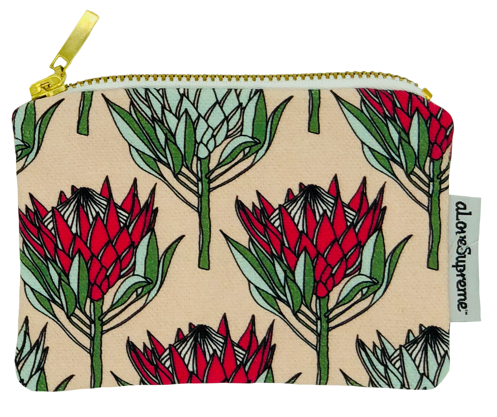 aLoveSupreme Coin Purse - King Protea Pink on Pink