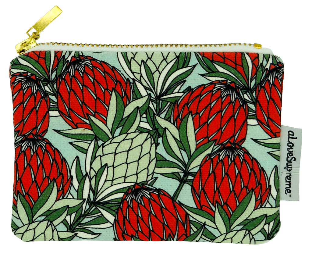 aLoveSupreme Coin Purse - Leaves Protea Red on Blue