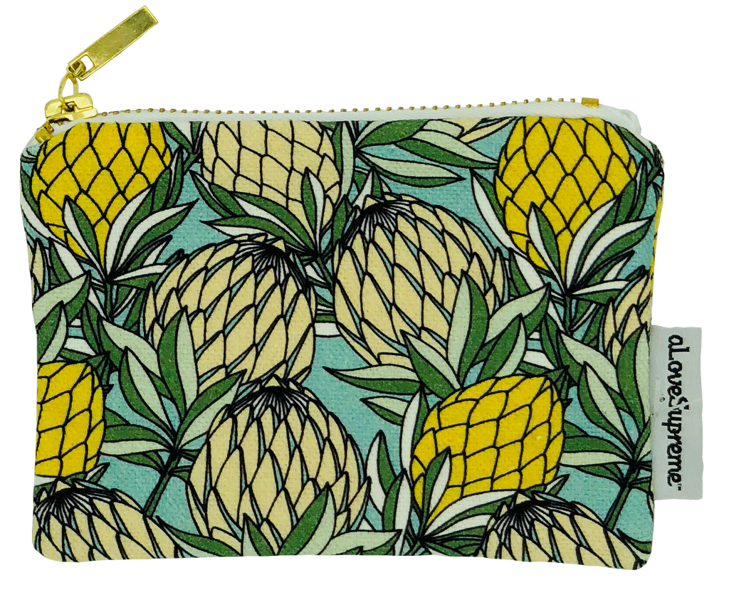 aLoveSupreme Coin Purse - Leaves Protea Yellow on Blue