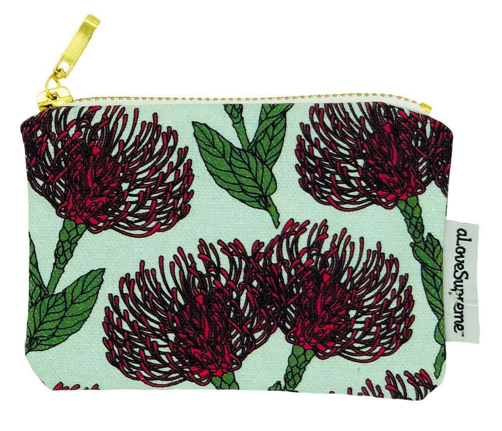 aLoveSupreme Coin Purse - Pin Cushion Protea Pink on Blue
