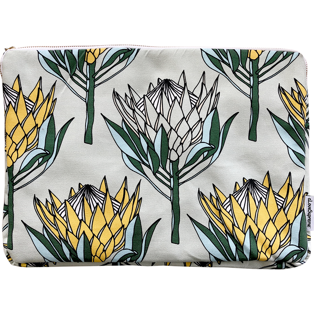 aLoveSupreme Laptop Sleeve 13inch - King Protea Yellow on Mint