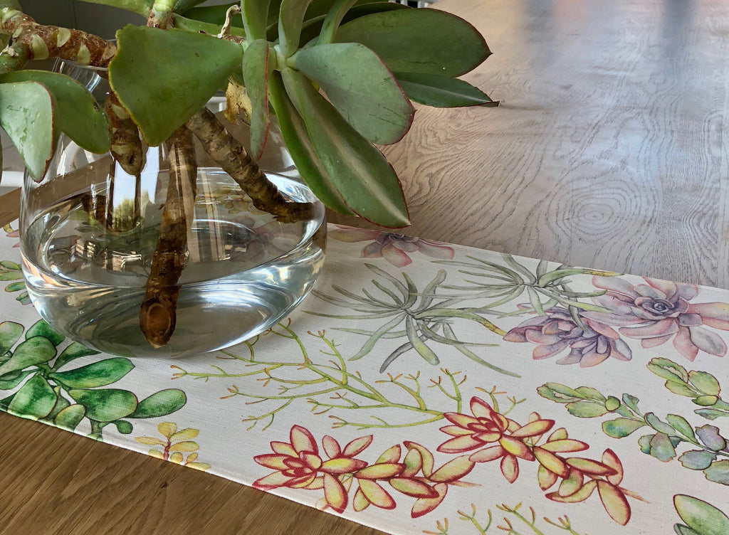 Peppertree Digital Table Runner Standard - Succulent Parchment on Parchment