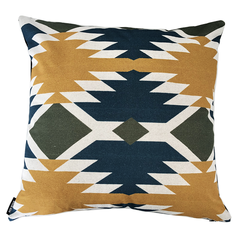 Deer Design Cushion Covers 60x60 - Tribal Chic Azurite