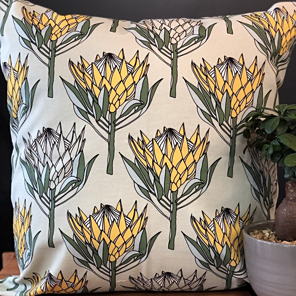 aLoveSupreme Cushion Covers 60x60 King Protea Yellow on Mint