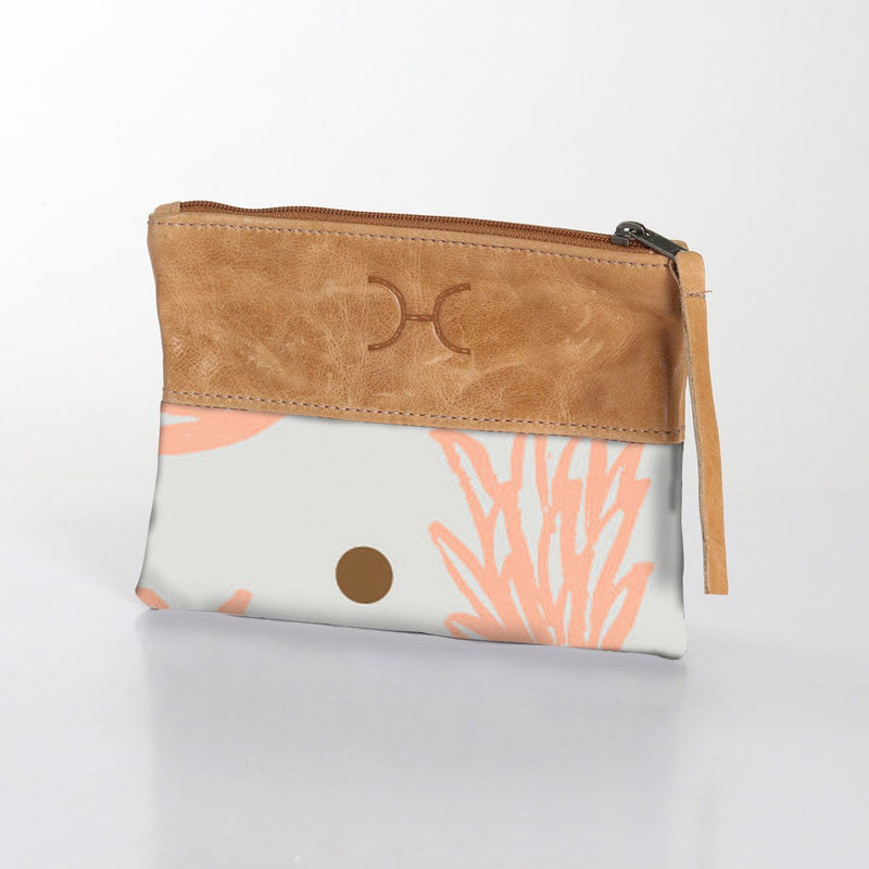 Thandana Fabric Pouch With Leather / Pineapple Dotty – Peach Nectar with Gold
