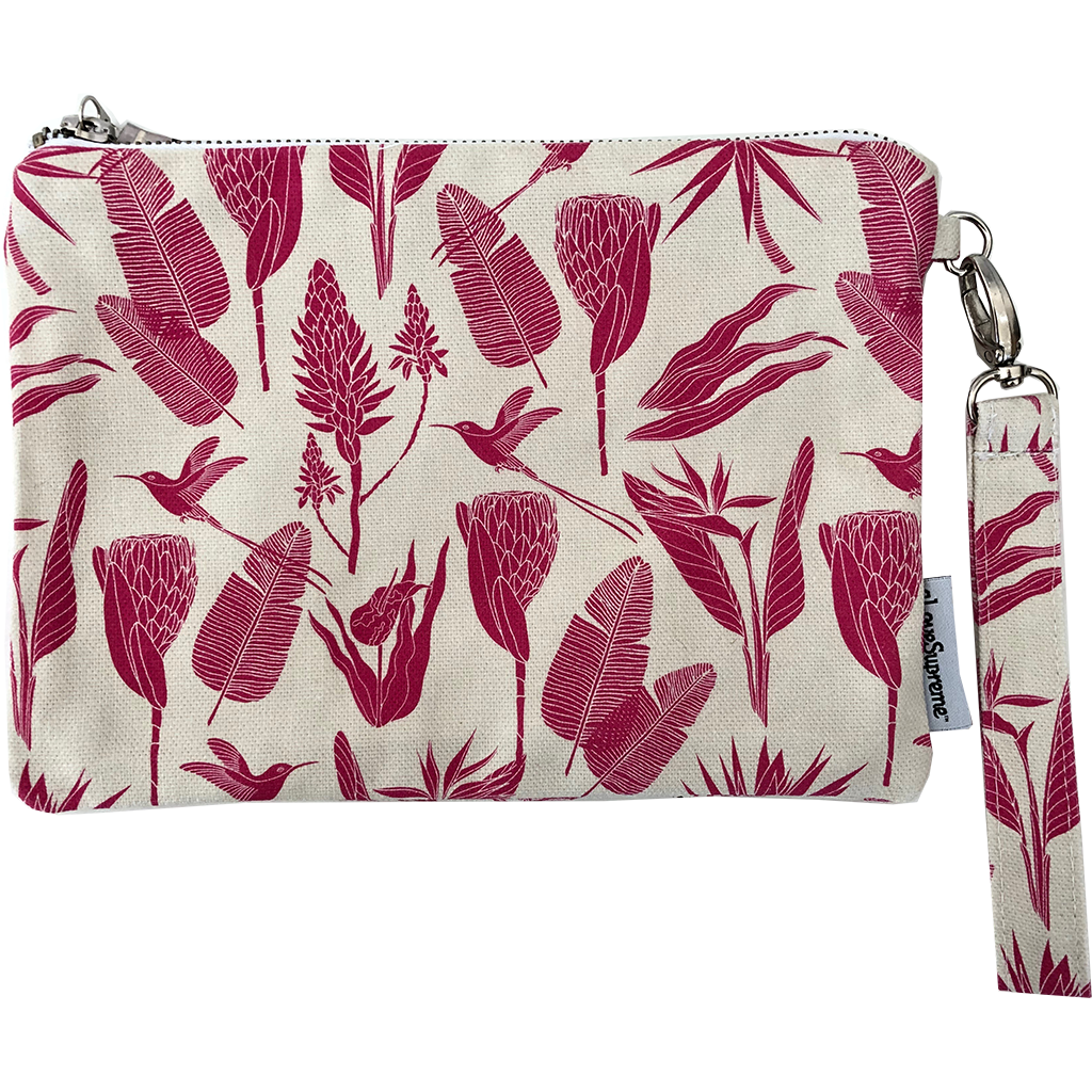 aLoveSupreme Pouch with Strap - Botanicals Pink on Sand