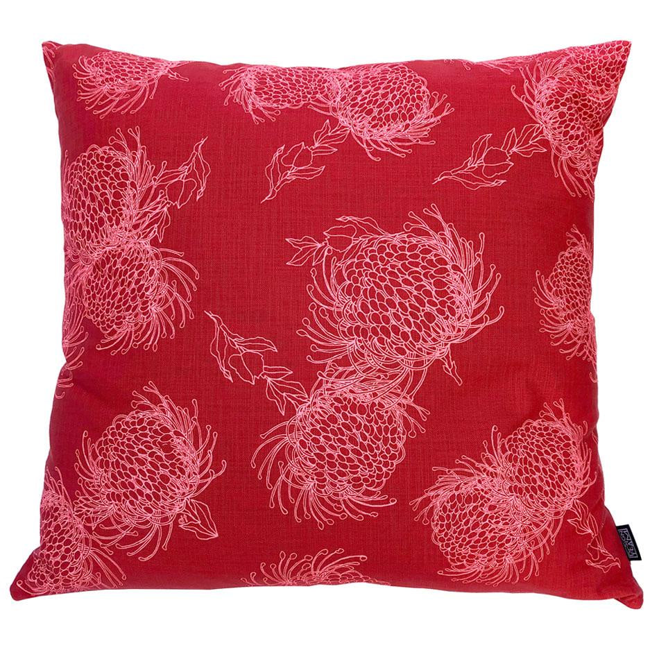 Peppertree Scatter Cushions 60x60 - Garden Bloom Bright Slamon on Masala