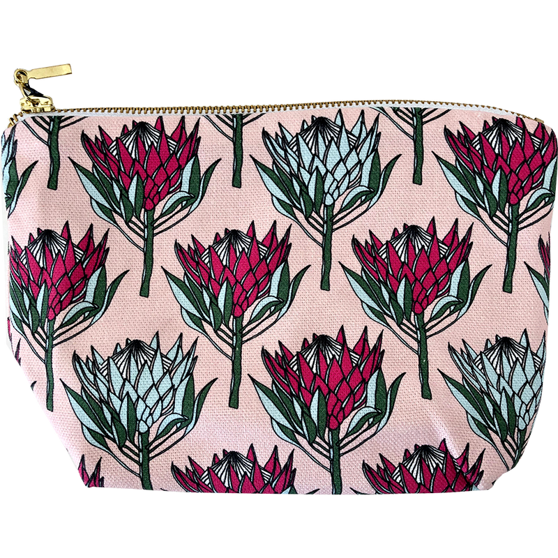 aLoveSupreme Makeup Pouch - King Protea Pink on Pink