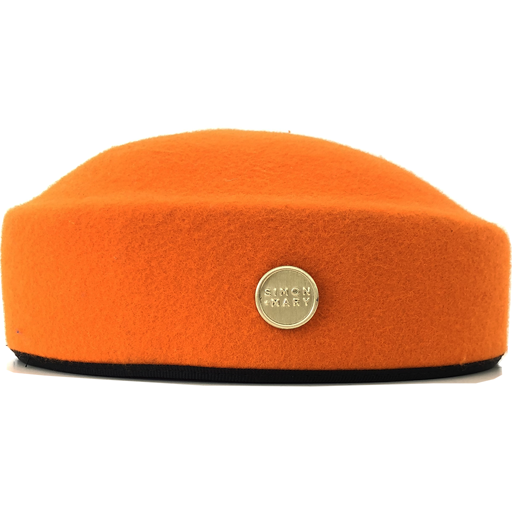 Simon & Mary Pillbox Fez Hat Orange