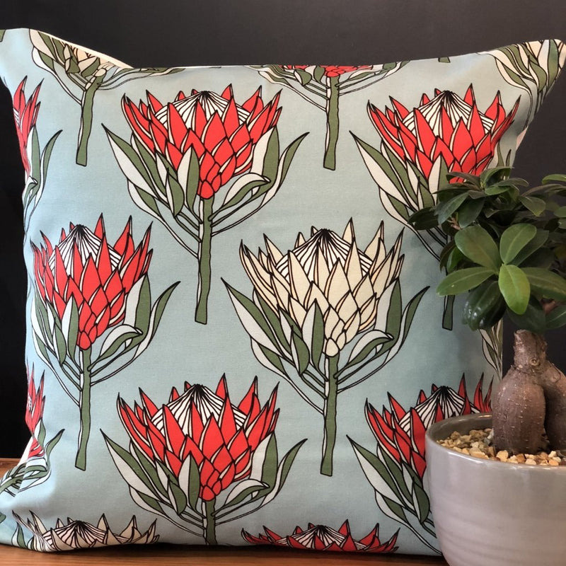 aLoveSupreme Cushion Covers 60x60 Leaves Protea Red on Blue