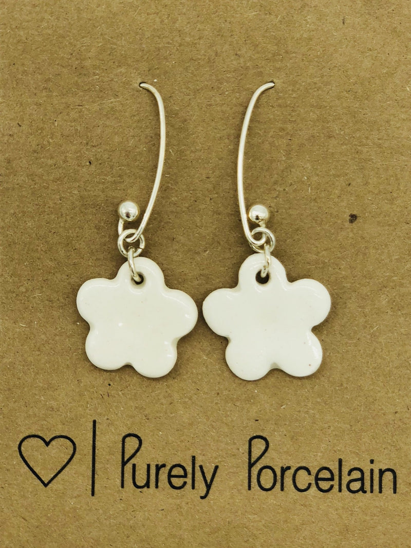 Purely Porcelain Earrings Sterling Silver Loops PP013 Clover