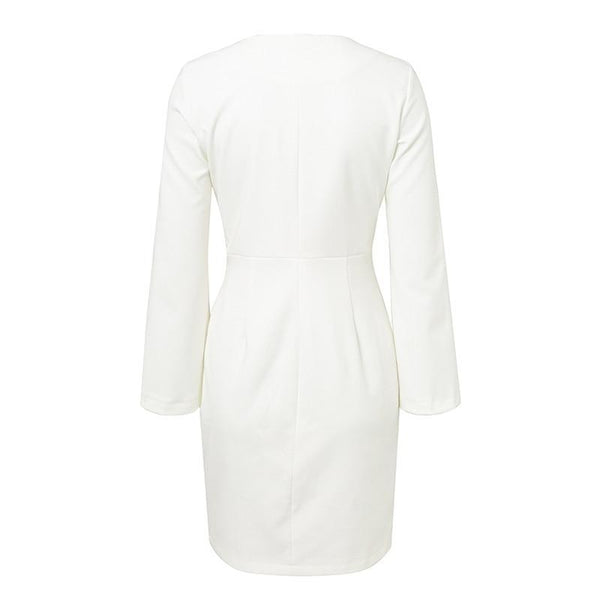 Lace up sleeves split double breasted white blazer Elegant dress