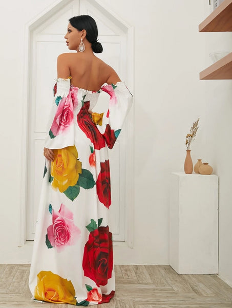 Big Flower Print maxi Dress