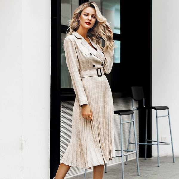 Pleated midi grey blazer dress