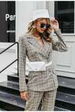 Plaid ladies grey blazer