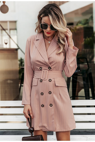 Stripped long sleeve short pink blazer dress