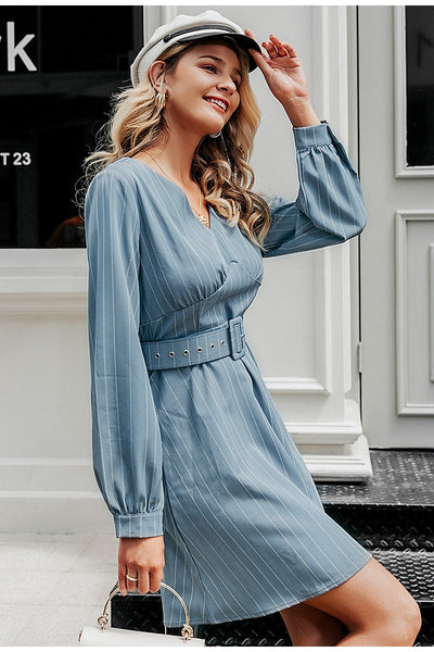 Striped Long sleeve belted elegant short dress