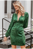 Daisy green satin dress