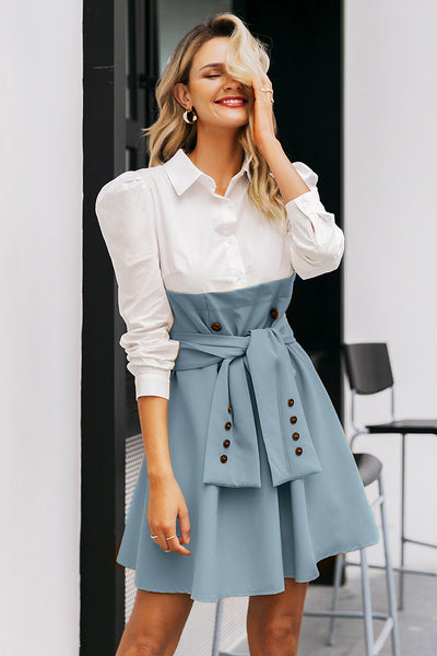 Patchwork puff sleeve shirt dress