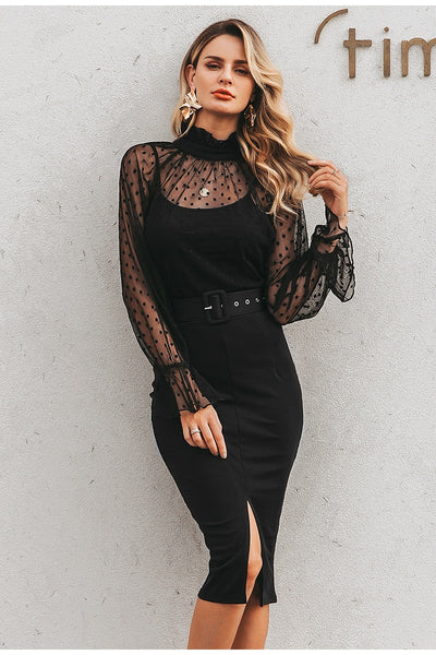 Rebellious black belted dress