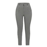 Linen textured plaid cigarette pants