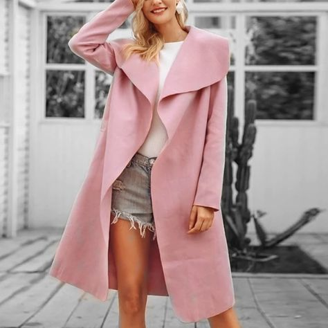 Long belted trendy thin pink coat