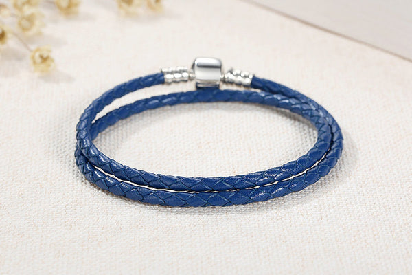 925 Sterling Silver & Two Circle  Blue Leather Bracelet - ALLUNIK SHOP