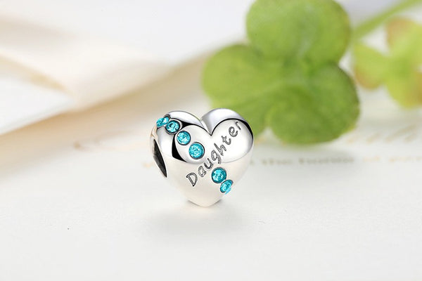 100% 925 Sterling Silver Daughter Love Heart Charm
