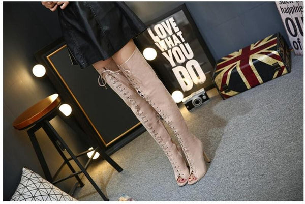 Over the Knee Lace Up High Heel Gladiator Boots