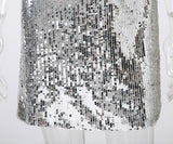 Deep V Neck Silver Sequined party short Dress - ALLUNIK SHOP