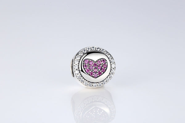 925 Sterling Silver Love Charm With Pink Heart CZ - ALLUNIK SHOP